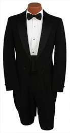 Black 6 Button Peak Lapel Tailcoat Jacket and Pants