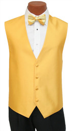 "Red Sleeve ""Reflection"" Vest and Wide Striped Bow Tie in Saffron"