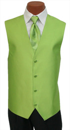 "Red Sleeve ""Reflection"" Vest and Long Tie Set in Green Apple"
