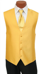 "Red Sleeve ""Reflection"" Vest and Long Tie Set in Saffron"