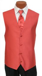 "Red Sleeve ""Reflection"" Vest and Long Tie Set in Persimmon"