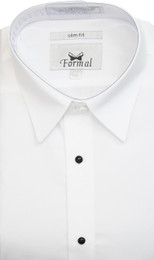 New White Slim Fit Microfiber Non-Pleated Laydown Collar Tuxedo Shirt