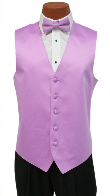 Solid Satin Vest and Tie Set in Orchid
