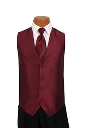 Sterling Vest and Tie Set in Claret