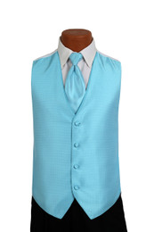 Sterling Vest and Tie Set in Turquoise