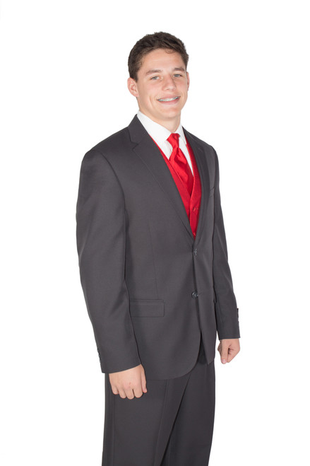 Charcoal Grey New Suit; 2-Piece Jacket and Pants  shown with Vest and Tie (not included)
