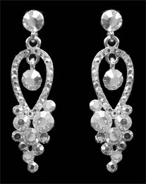 Dainty Clear Rhinestone Earrings Cristal D'Or #6831CR