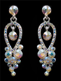 Dainty Iridescent Rhinestone Earrings Cristal D'Or #6831AB