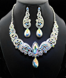 Elegant Iridescent Statement Necklace and Earring Cristal D'Or Set #CD-6963