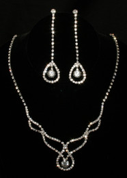 Elegant Clear Crystal Necklace & Earring Set #CD-6877