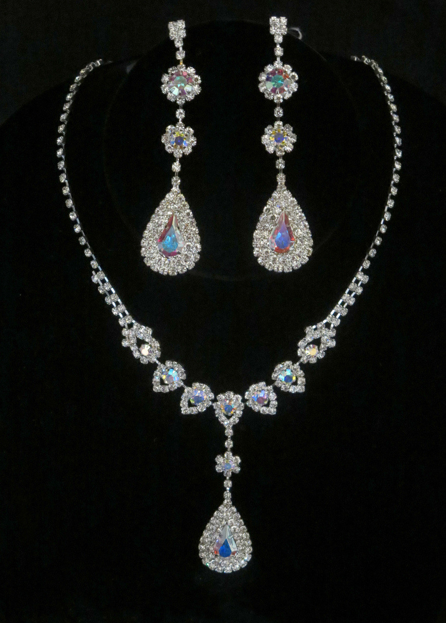 Long Teardrop Iridescent Crystal Rhinestone Necklace and Earring ... bef13021693a
