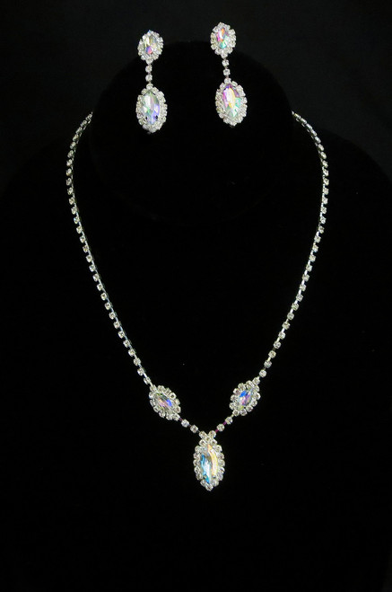 Iridescent Marquise Rhinestone Necklace and Earring Cristal D'Or Set #CD-6962