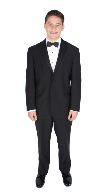 Classic Black 100% Wool Tuxedo Jacket and Pants with Black Bow Tie and Cummerbund