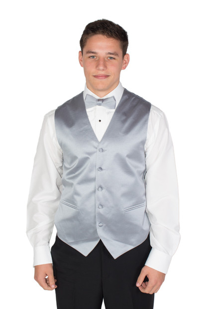New Silver Satin Fullback Vest and Bow Tie