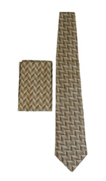 New 100% Silk Tan/Bronze Tie and Pocket Square