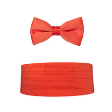 New Coral Satin Bow Tie and Cummerbund Set