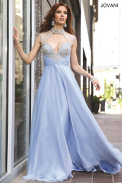 Jovani 98546 Light Blue Chiffon Prom Dress