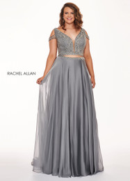 Rachel Allan 6693 Platinum 2 Piece Chiffon Prom Dress Front