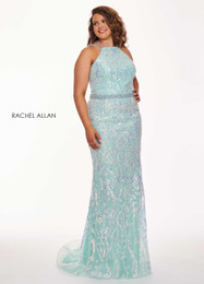 RACHEL ALLAN Curves 6687 Aqua Halter Fit and Flare Plus Size Prom Dress