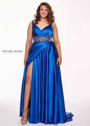RACHEL ALLAN Curves 6681 Royal Blue V-Neck A- Line Plus Size Prom Dress