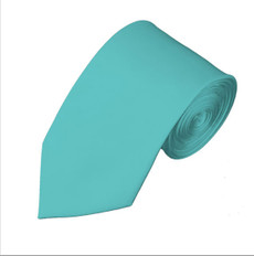 "New  Aqua Green Satin Self Tie Slim Long Tie 2.75"" X 58"""