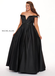 RACHEL ALLAN Curves 6670 Black Off the Shoulder Ball Gown Plus Size Prom Dress