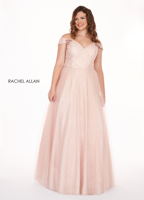 RACHEL ALLAN Curves 6663 Blush Off Shoulder Ball Gown Plus Size Prom Dress