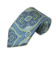 "Lime Green, Steel Blue Paisley pattern Slim Long Tie 2.75"" X %8"""