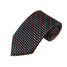 Slim Long Tie In Coral, Peach, And Steel Blue Dots pattern