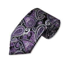 New Slim Self Tie Long Tie,  in Purple white and Black Paisley pattern