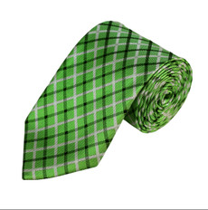 "Light Green White and Black Plaid Slim Long Tie Self Tie 2.75"" X 58"""