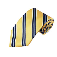 "Steel Blue and Navy Stripes on Yellow Slim Self Tie Long Tie 2.75"" X 58"""
