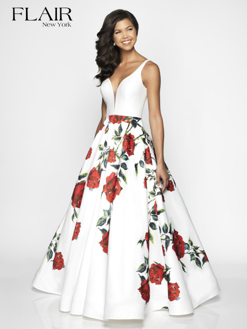 FLAIR New York 19048 Ivory and Red Floral Print Prom Dress