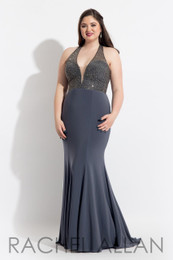 RACHEL ALLAN Curves 6326 Gunmetal Jersey Fit and Flare Plus Size Prom Dress