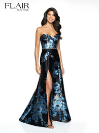 FLAIR New York 19100 Black and Blue Floral Print Brocade Dress