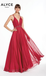 Alyce Paris 1382 Raspberry A-Line Chiffon Prom Dress