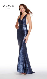 Alyce Paris 60036 Navy Open Back Completely Sequined Gown