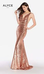 Alyce Paris 60036 Rose Gold Open Back Completely Sequined Gown
