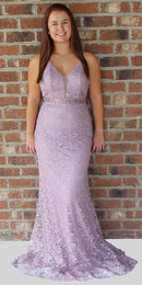 Alyce Paris 60258 Heather Lace Plunge Neckline Prom Dress