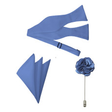New Steel Blue Satin Self Tie Bow Tie, Pocket Square and Flower Lapel Pin Set