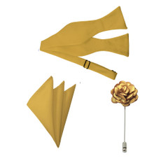 New Honey Gold Satin Self Tie Bow Tie, Pocket Square and Flower Lapel Pin Set