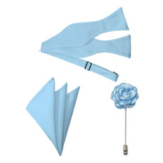 New Powder Blue Satin Self Tie Bow Tie, Pocket Square and Flower Lapel Pin Set