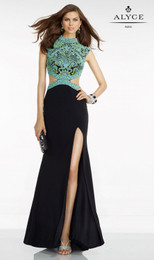 Alyce Paris 6523 Black/Multi Fit and Flare Jersey Prom Dress