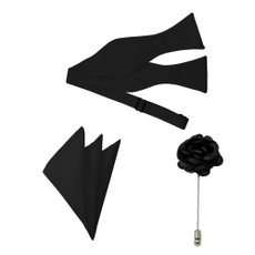 New black Satin Self Tie Bow Tie, Pocket Square and Flower Lapel Pin Set