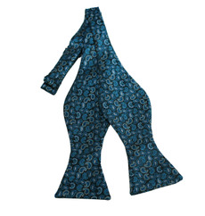 New  Paisley Woven Self-Tie Bow Tie in Turquoise, Oasis and Peacock Blue