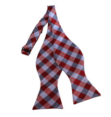 New Checkered Woven Self-Tie Bow Tie in Red, Grey and Silver