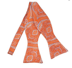 "Tangerine Woven Paisley Print Self Tie Bow TIe 2.75: X 4.75""  adjustable neck from 16"" - 22"""