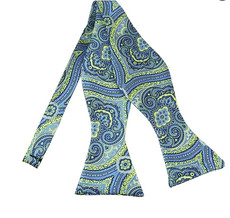 New Woven Paisley Self-Tie Bow Tie in Lime Green and Steel Blue