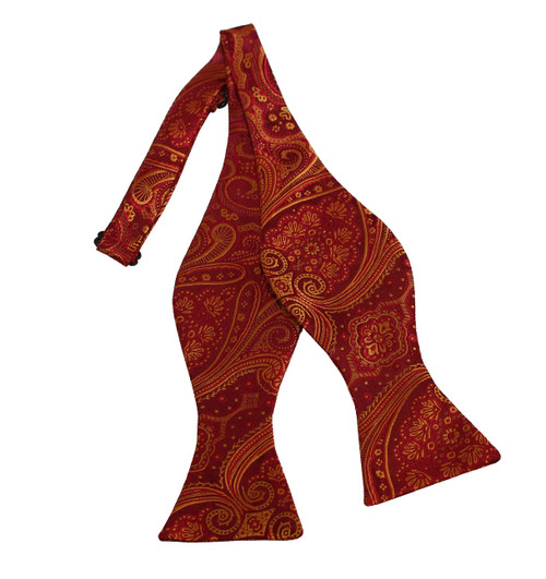 """Rich Wine Red and Golden Yellow Woven Paisley Print Self Tie Bow Tie 2.75"""" X 4.75"""" and an adjustable neck from 16""""- 22"""""""