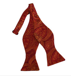 "Rich Wine Red and Golden Yellow Woven Paisley Print Self Tie Bow Tie 2.75"" X 4.75"" and an adjustable neck from 16""- 22"""